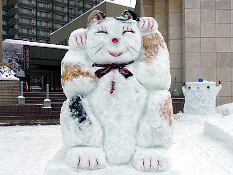 2012年1月28日文学館まねきねこ雪像