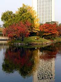 菖蒲池に映るノボテル札幌